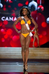 Miss Canada Yamoah competes during the Swimsuit Competition of the 2012 Miss Universe Presentation Show at PH Live in Las Vegas