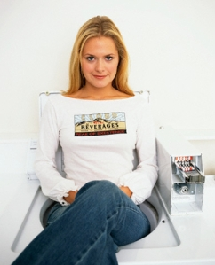 Actress Maggie Lawson in White Top on Washing Machine